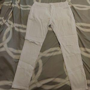 Womens White Slit Knee Stretch Jeans XXL